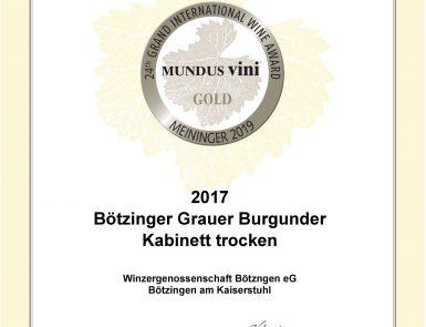 Mundus Vidi Urkunde Prämierter Wein Bötzinger